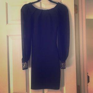 Asos Petite Navy Dress Embellished Cuff Sleeves